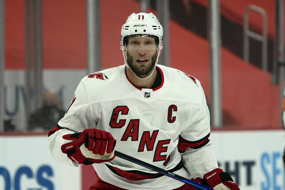 Carolina Hurricanes center Jordan Staal (11) plays against the Detroit Red Wings in the first period of an NHL hockey game Thursday, Jan. 14, 2021, in Detroit. Staal was the first of six Hurricanes players to appear on the league's COVID-19 unavailability list, though he has returned to the team. (AP Photo/Paul Sancya)