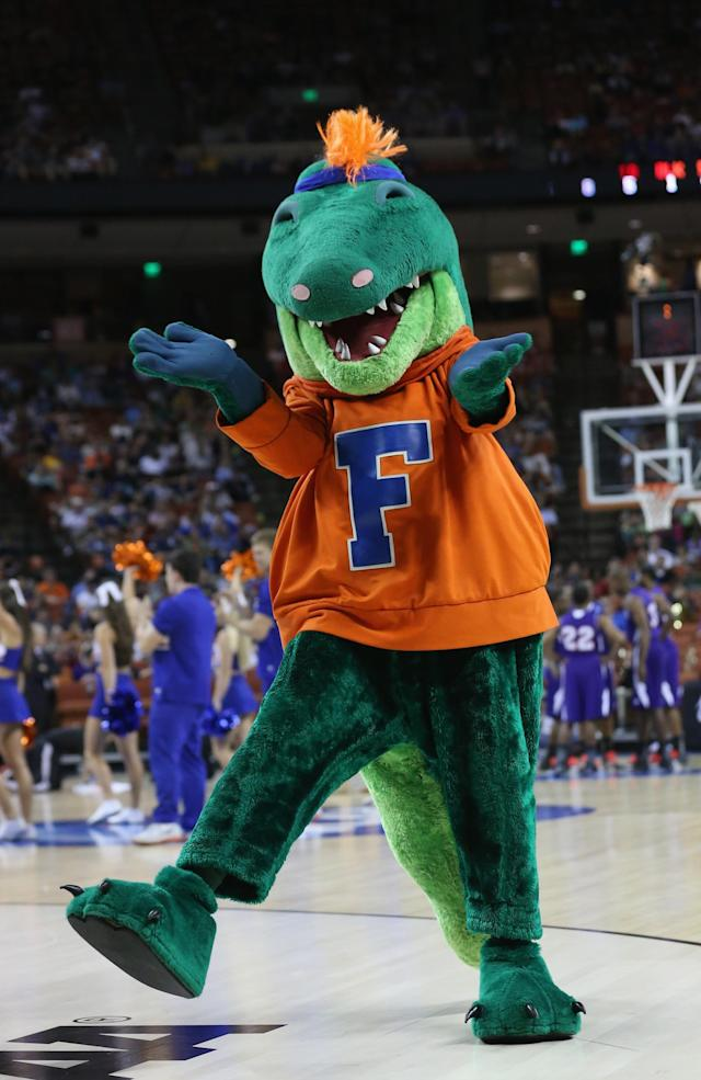 AUSTIN, TX - MARCH 22: The Florida Gators mascot performs during the game against the Northwestern State Demons during the second round of the 2013 NCAA Men's Basketball Tournament at The Frank Erwin Center on March 22, 2013 in Austin, Texas. (Photo by Stephen Dunn/Getty Images)