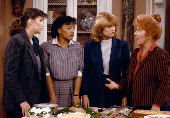 """From left: Nancy McKeon, Kim Fields, Lisa Whelchel and Charlotte Rae in an episode of """"The Facts of Life."""" (Photo: NBC via Getty Images)"""