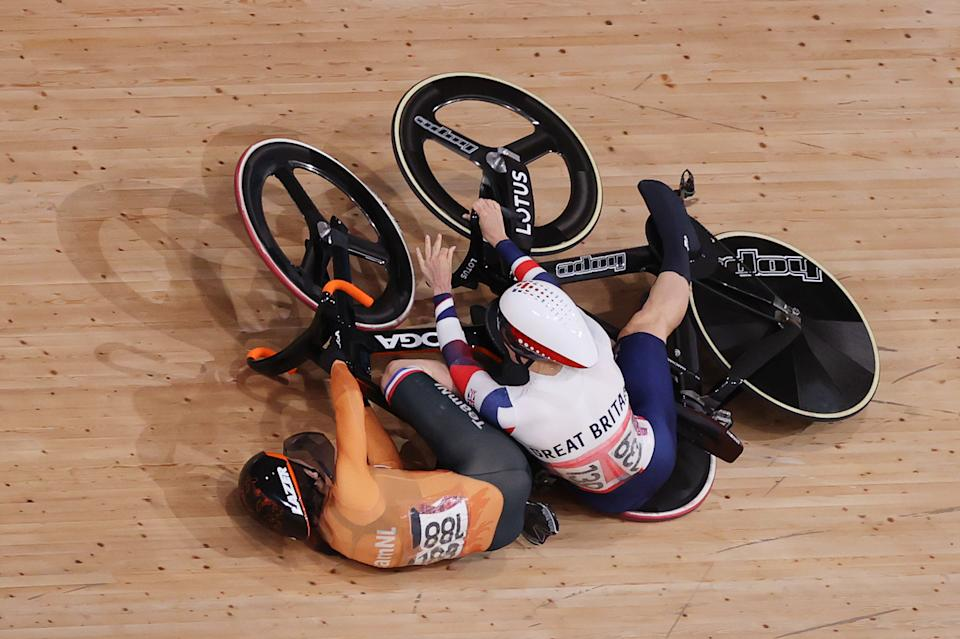 <p>Laurine van Riessen of Team Netherlands and Katy Marchant of Team Great Britain fall during the Women's Keirin quarterfinals - heat 1 of the track cycling on day thirteen of the Tokyo 2020 Olympic Games at Izu Velodrome on August 05, 2021 in Izu, Japan. (Photo by Justin Setterfield/Getty Images)</p>
