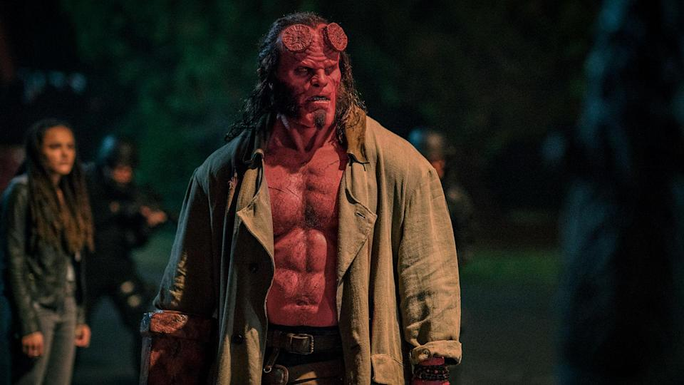 It took three hours in the make-up chair to transform David Harbour into <i>Hellboy</i>. (Lionsgate)