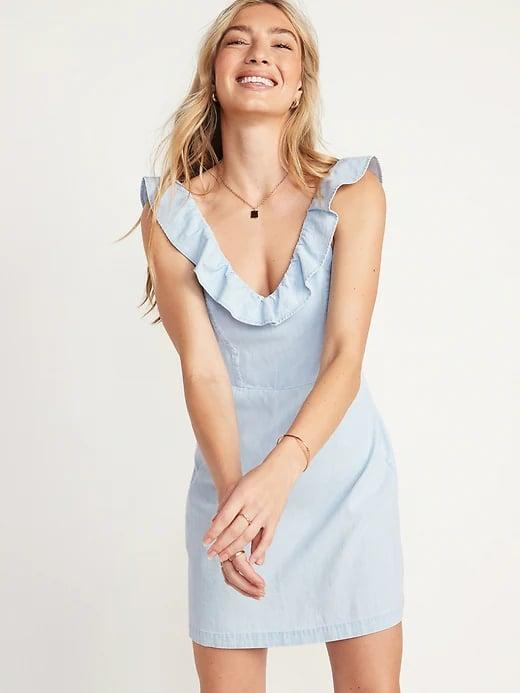 <p>This a-line <span>Old Navy Sleeveless Ruffled Fit and Flare Chambray Dress</span> ($35) would look lovely with wedges.</p>
