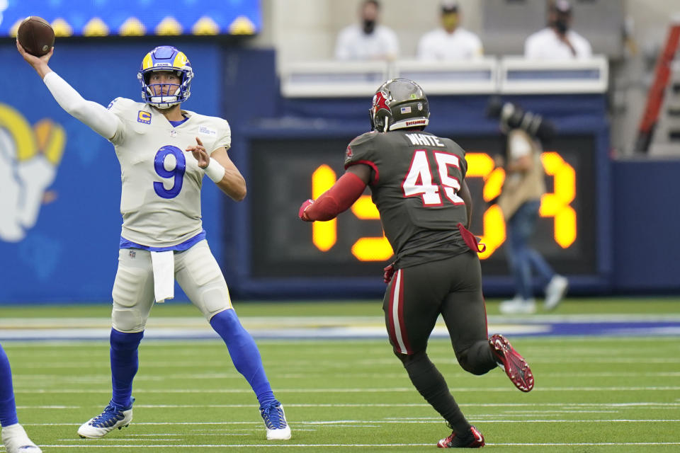 Matthew Stafford and the Rams outclassed the defending champion Buccaneers on Sunday, announcing themselves as Super Bowl contenders in the process. (AP Photo/Jae C. Hong)