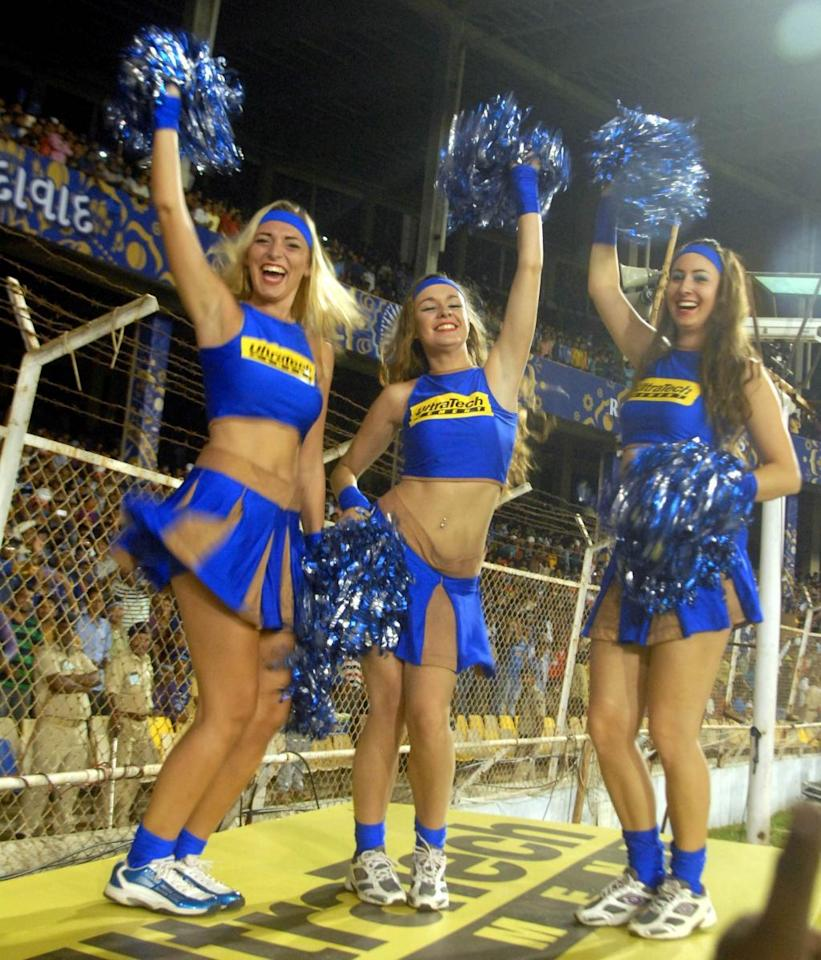 Ahmedabad: Cheer leaders perform during an IPL-2015 match between Rajasthan Royals and Mumbai Indians at Sardar Patel Stadium, in Ahmedabad, on April 13, 2015. (Photo: IANS)