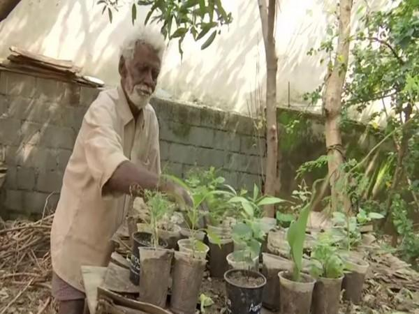 Revanna Siddappa sells medicinal saplings on the roadside in Bengaluru. [Photo/ANI]