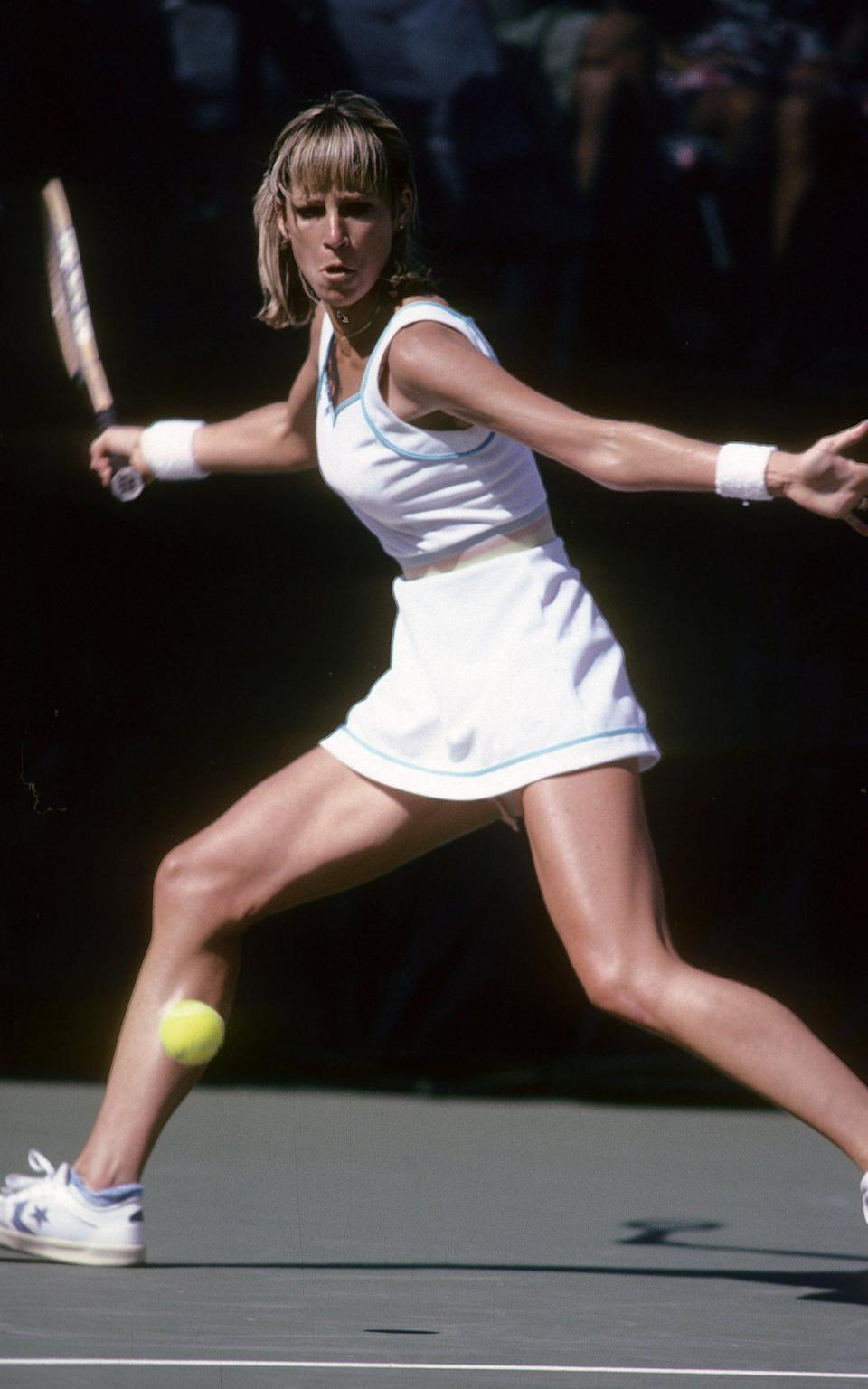 Tennis player Chris Evert Lloyd of the USA during the women finals of the 1980 U.S. Open tennis tournament - Credit: Focus On Sport/Getty Images