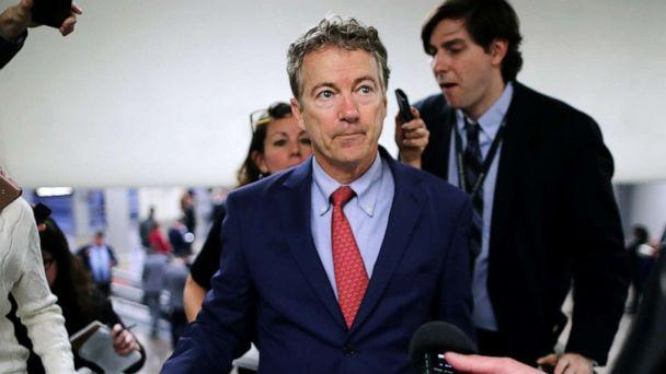 PHOTO:Sen. Rand Paul talks to reporters as he heads to the U.S. Capitol for the weekly Republican policy luncheonin Washington, D.C., March 05, 2019. (Chip Somodevilla/Getty Images, FILE)