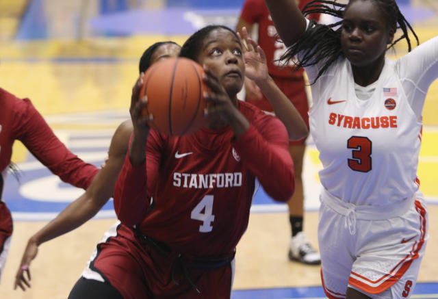 Stanford's Nadia Fingall drives to the net during the first half of an NCAA college basketball game against Syracuse on Friday, Nov. 29 2019, in Victoria, British Columbia. (Chad Hipolito/The Canadian Press via AP)