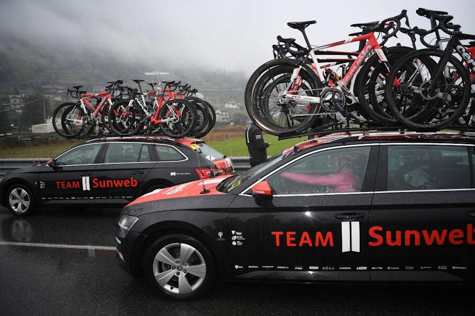 ASTI ITALY  OCTOBER 23 Wilco Kelderman of The Netherlands and Team Sunweb Pink Leader Jersey  Race neutralised due to heavy rain and team riders protest  Car  Detail view  during the 103rd Giro dItalia 2020 Stage 19 a 258km stage from Morbegno to Asti  girodiitalia  Giro  on October 23 2020 in Asti Italy Photo by Tim de WaeleGetty Images