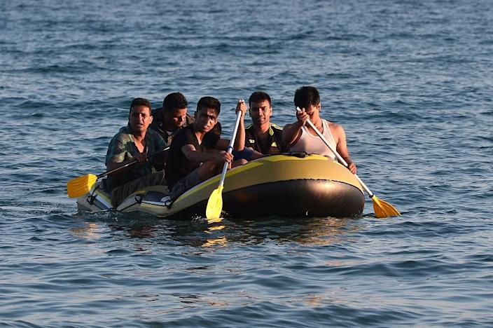 A group of migrants arriving at the Greek island of Kos from Turkey on August 18, 2015 (AFP Photo/Louisa Gouliamaki)