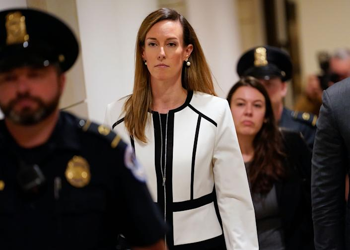 Jennifer Williams, a special adviser to Vice President Mike Pence for Europe and Russia who is a career foreign service officer, leaves after a Nov. 7 closed-door interview at the Capitol in the impeachment inquiry on President Donald Trump's efforts to press Ukraine to investigate his political rival Joe Biden. (Photo: ASSOCIATED PRESS)