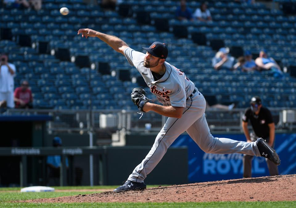 Detroit Tigers relief pitcher Michael Fulmer throws to a Kansas City batter during the ninth inning at Kauffman Stadium in Kansas City, Missouri, on Wednesday, June 16, 2021.