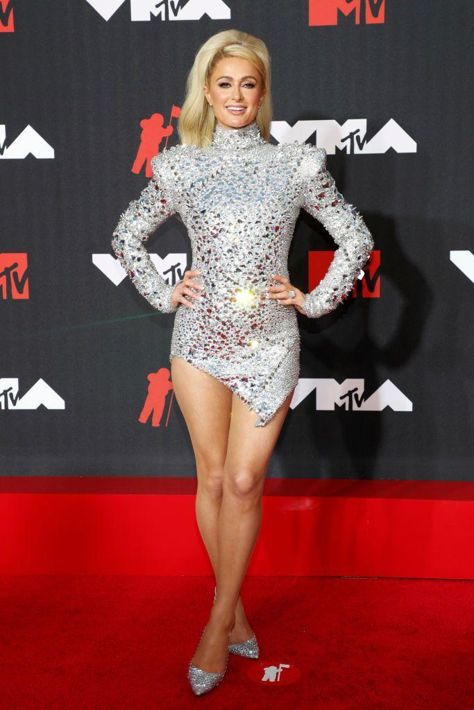 <p>Hilton wore a sequin mini dress by The Blonds for the awards ceremony. </p>