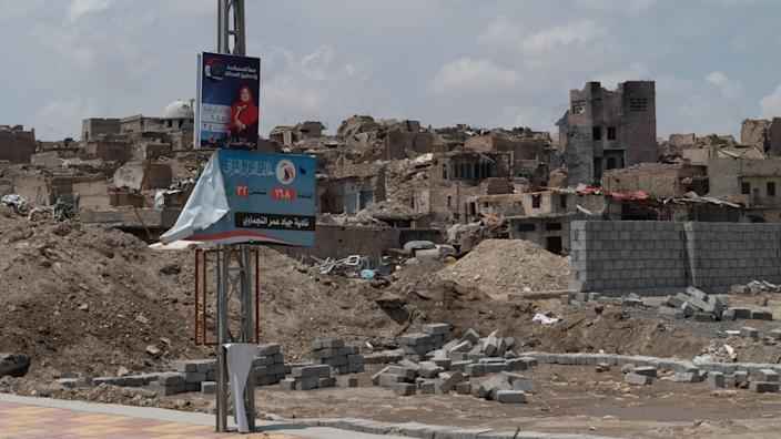 Campaign posters are papered all over Mosul as Iraq heads toward the first national elections since the Islamic State was expelled from the city last year. (Photo: Shawn Carrié for Yahoo News)