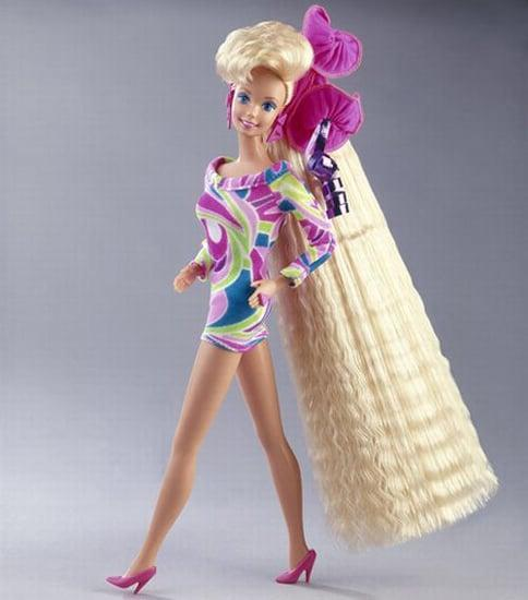 <p>You can't give just any Barbie; it has to be something iconic to the '80s and '90s like <span>Totally Hair Barbie</span> (price varies)! </p>