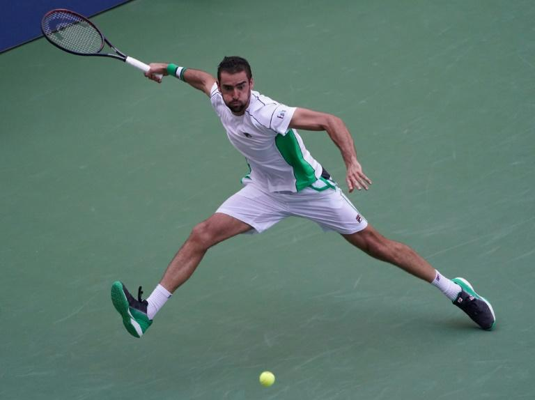 Marin Cilic on the way to a US Open fourth-round victory over David Goffin on Monday