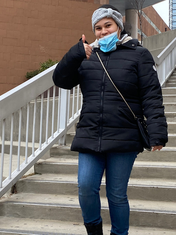 On the last day of her last final, Marleny Hernandez walked down the steps at BMCC after passing, and showed her reaction.