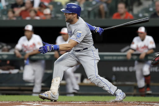 Kansas City Royals' Alex Gordon follows through on a single off Baltimore Orioles starting pitcher Dylan Bundy during the second inning of a baseball game Tuesday, Aug. 20, 2019, in Baltimore. (AP Photo/Julio Cortez)