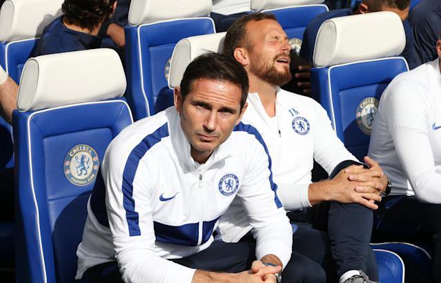 Frank Lampard ahead of the Premier League match against Leicester City at Stamford Bridge. (Photo by Plumb Images/Leicester City FC via Getty Images)