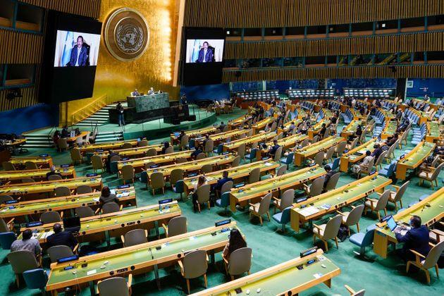 Somalia's President Mohamed Abdullahi Mohamed Farmajo is seen on video screens as he addresses the 76th Session of the United Nations General Assembly remotely at the UN Headquarters on September 21, 2021 in New York. (Photo by Mary Altaffer / POOL / AFP) (Photo by MARY ALTAFFER/POOL/AFP via Getty Images) (Photo: MARY ALTAFFER via Getty Images)