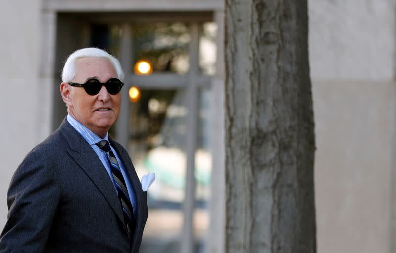 Roger Stone, former campaign adviser to U.S. President Donald Trump, arrives for the continuation of his criminal trial on charges of lying to Congress, obstructing justice and witness tampering at U.S. District Court