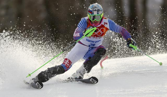 Slovakia's Adam Zampa skis during the slalom run of the men's alpine skiing super combined event at the 2014 Sochi Winter Olympics at the Rosa Khutor Alpine Center February 14, 2014. REUTERS/Dominic Ebenbichler (RUSSIA - Tags: SPORT SKIING OLYMPICS)