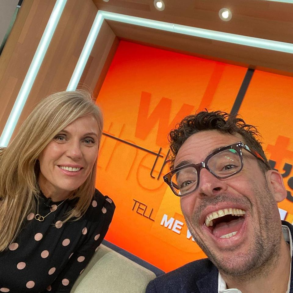 Joe shared a snap of himself on The Morning Show couch with Caroline Overington. Photo: Instagram/Joe Hildebrand