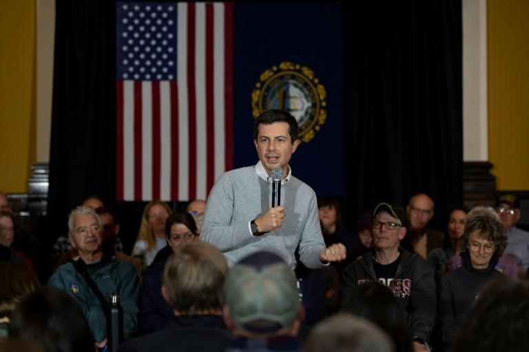 Pete Buttigieg, the young mayor of South Bend, Indiana and a rising-star 2020 Democratic presidential candidate, brought his message of can-do centrism to New Hampshire on a four-day bus tour seeking to broaden his support in the early-voting state (AFP Photo/JIM WATSON)