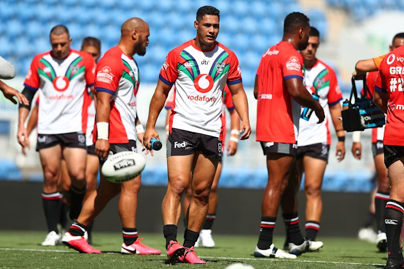 Roger Tuivasa-Sheck of the Warriors warms up before the round 2 NRL match between the New Zealand Warriors and the Canberra Raiders at Cbus Super Stadium on March 21, 2020 in Gold Coast, Australia. (Photo by Chris Hyde/Getty Images)