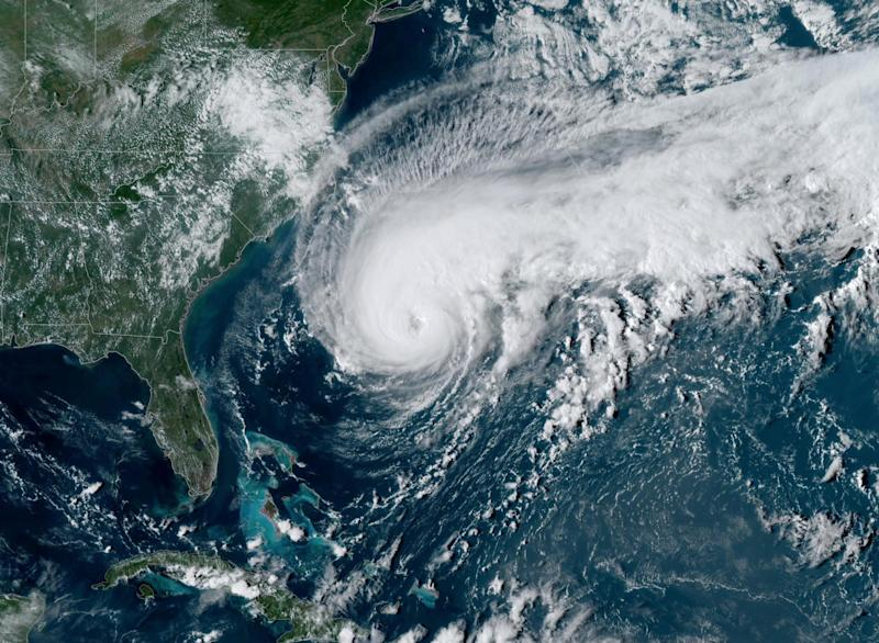 A satellite image of Hurricane Humberto, west of Bermuda, U.S., September 17, 2019. NOAA/Handout via REUTERS. THIS IMAGE HAS BEEN SUPPLIED BY A THIRD PARTY.
