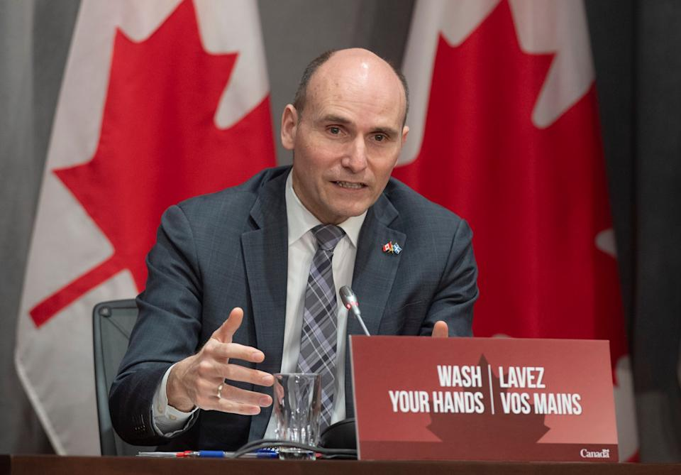 President of the Treasury Board Jean-Yves Duclos responds to a question during a news conference in Ottawa on April 8, 2020.  (Photo: Adrian Wyld/CP)