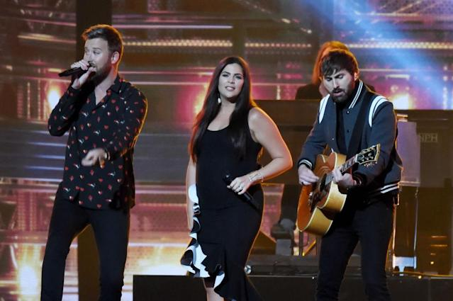 <p>Charles Kelley, Hillary Scott, and Dave Haywood of Lady Antebellum perform onstage at the 51st annual CMA Awards at the Bridgestone Arena on November 8, 2017 in Nashville, Tennessee. (Photo by Rick Diamond/Getty Images) </p>