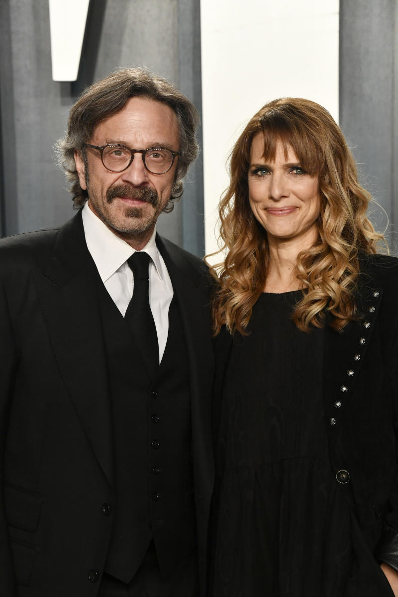 Marc Maron and Lynn Shelton attend the 2020 Vanity Fair Oscar Party hosted by Radhika Jones at Wallis Annenberg Center for the Performing Arts on February 09, 2020 in Beverly Hills, California.