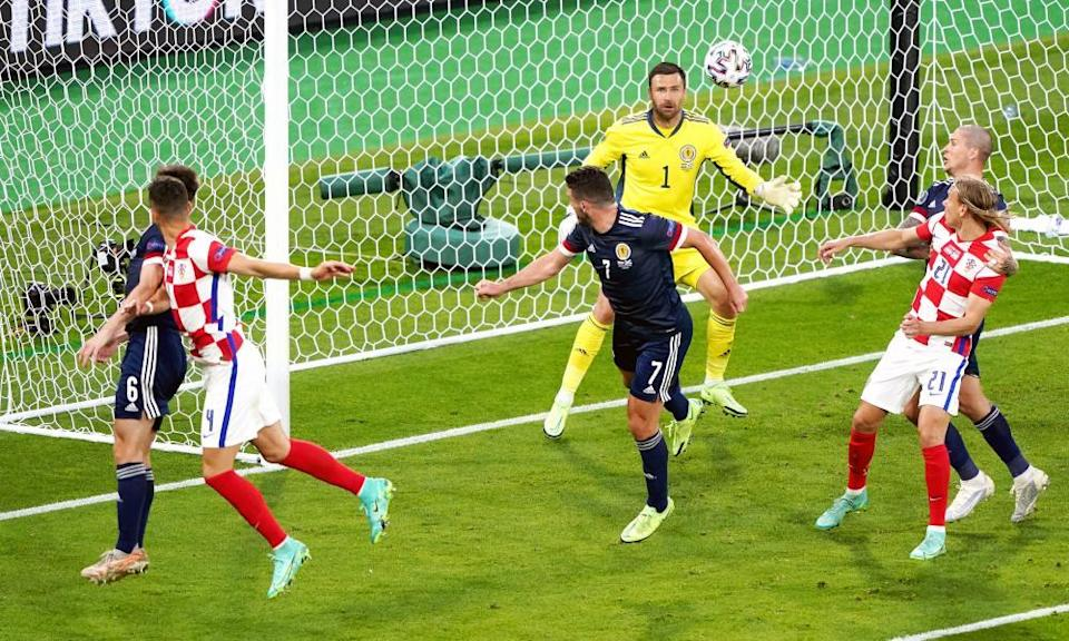 Ivan Perisic (second left) heads in Croatia's third against Scotland, 13 minutes from time.