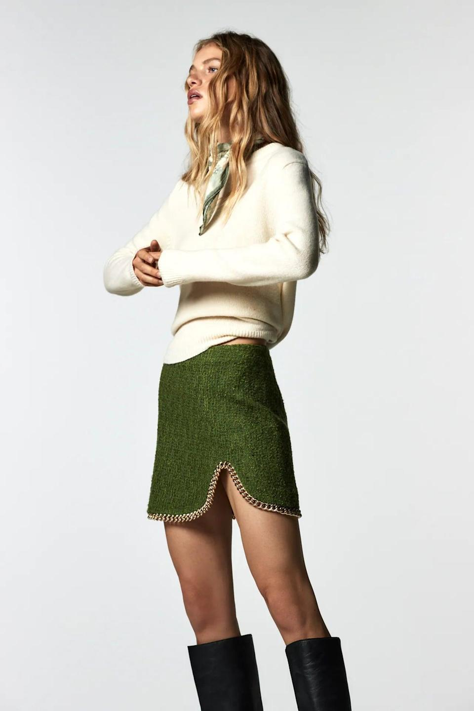 <p>This green <span>Zara Chain Mini Skirt</span> ($50) is unexpected and adorable. The chain detail is so fun.</p>