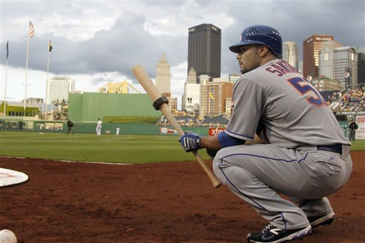 New York Mets starting pitcher Johan Santana waits on deck to bat against the Pittsburgh Pirates in the second inning of the baseball game on Monday, May 21, 2012, in Pittsburgh. (AP Photo/Keith Srakocic )