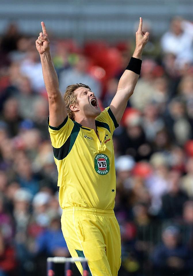 Australia's Shane Watson celebrates taking the wicket of England's Kevin Pietersen (left), during the Second One Day International at Old Trafford Cricket Ground, Manchester.
