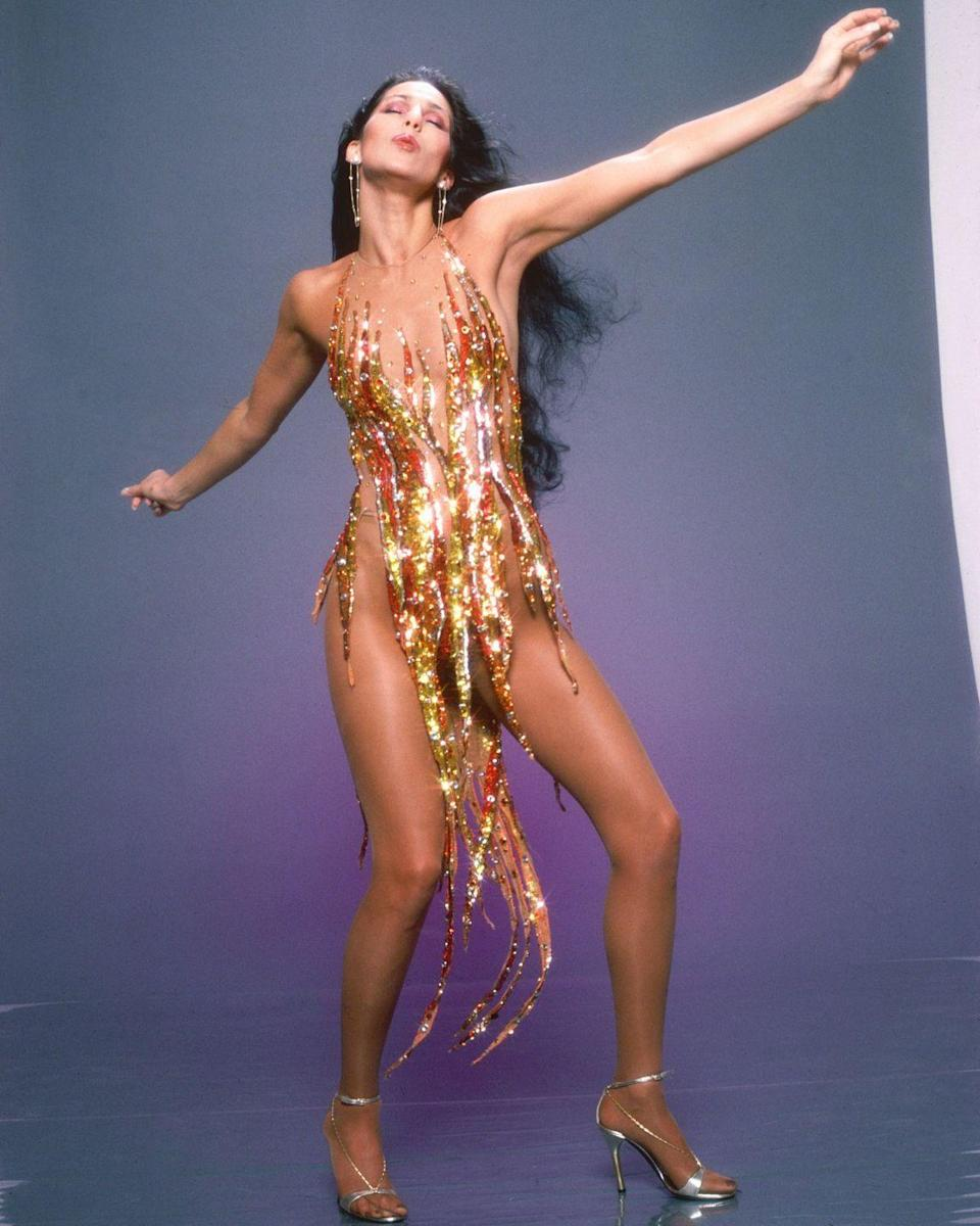 <p>Wearing another one of her famous Bob Mackie designs for a portrait session. </p>