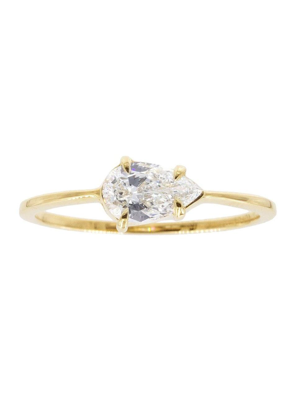 """""""It's a great way to have a subtle and unique spin on a more traditional solitaire design,"""" says Nicholson of this style. $4950, Gillian Conroy. <a href=""""https://gillianconroy.com/collections/engagement-rings/products/0-50-carat-pear-white-diamond-18-karat-yellow-gold-sophia-ring"""" rel=""""nofollow noopener"""" target=""""_blank"""" data-ylk=""""slk:Get it now!"""" class=""""link rapid-noclick-resp"""">Get it now!</a>"""