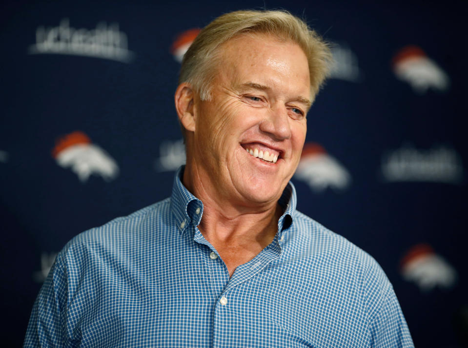 John Elway, general manager of the Denver Broncos, made some high-profile moves in the draft's first two days. (AP)