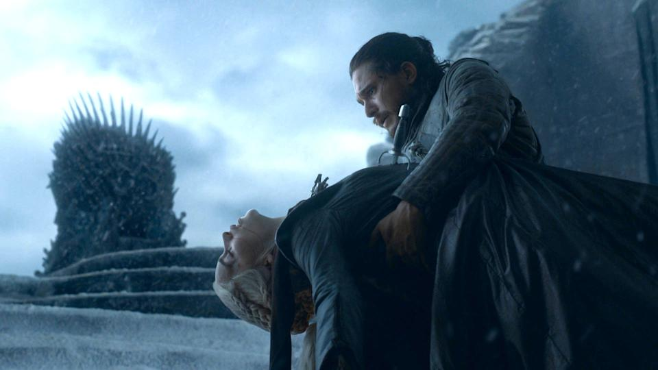 Emilia and Kit Harington in the Game Of Thrones finale (Photo: HBO)