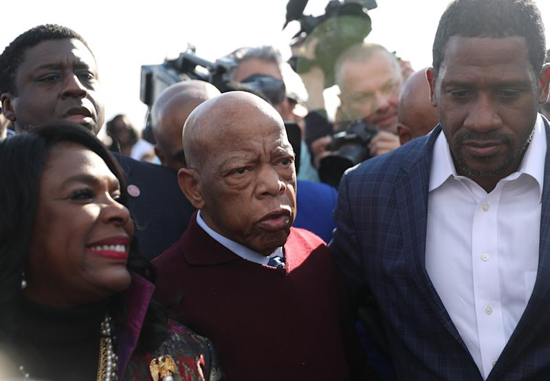 Rep. John Lewis (D-GA) arrives to speak to the crowd at the Edmund Pettus Bridge crossing reenactment marking the 55th anniversary of Selma's Bloody Sunday on March 1, 2020 in Selma, Alabama. (Joe Raedle/Getty Images)