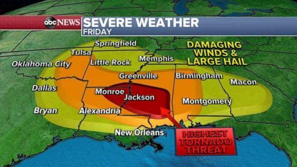 PHOTO: More than 30 million people are on alert for severe weather in the next 24 hours from Texas to Georgia. (ABC News)