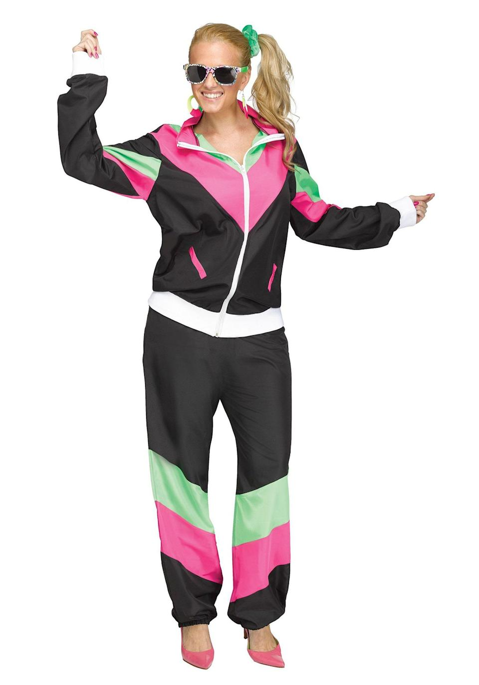 """<p><strong>Read Reviews</strong></p><p>halloweencostumes.com</p><p><strong>$24.99</strong></p><p><a href=""""https://go.redirectingat.com?id=74968X1596630&url=https%3A%2F%2Fwww.halloweencostumes.com%2Fwoman-s-80-s-track-suit-plus-size-costume.html&sref=https%3A%2F%2Fwww.womansday.com%2Fstyle%2Fg22646261%2Fbest-80s-costumes%2F"""" rel=""""nofollow noopener"""" target=""""_blank"""" data-ylk=""""slk:SHOP NOW"""" class=""""link rapid-noclick-resp"""">SHOP NOW</a></p><p>If you came of age in the '80s, you may already have one of these (and a slew of matching scrunchies) hanging in your closet. Just in case you gave it up at the end of the '90s though this is a great alternative to take you back in time.</p>"""