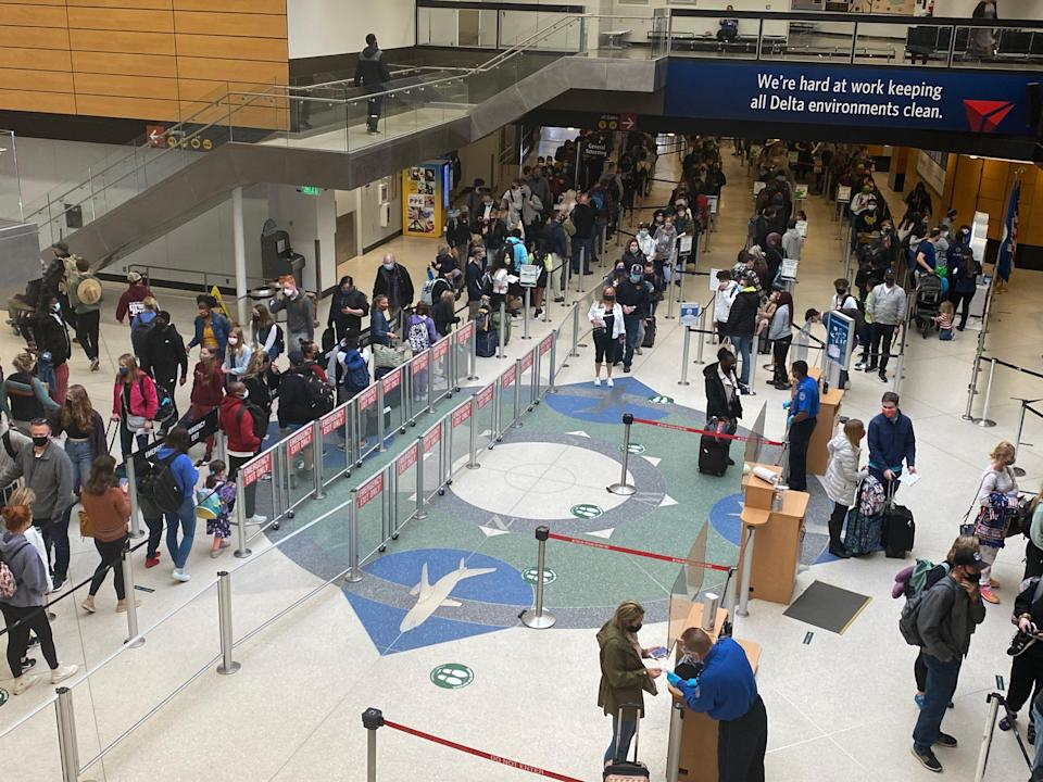 Travelers faced long lines at Seattle-Tacoma International Airport TSA checkpoints as travel ticked up around spring break.