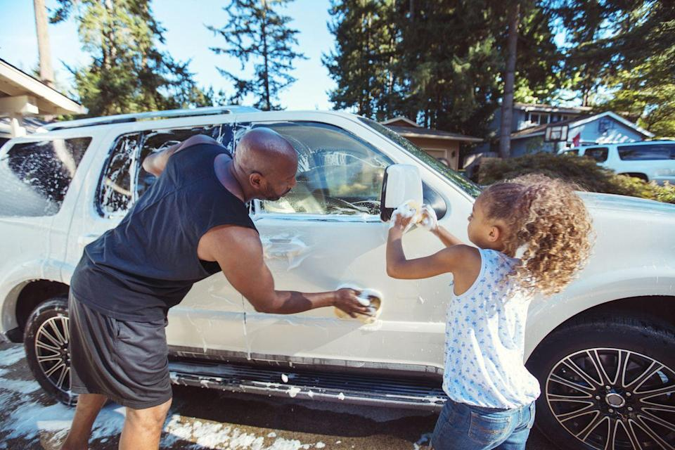 <p>Skip the car wash! Just fill a bucket with some sudsy water, pull out the hose, and enlist some little helpers to get your wheels fresh and clean. You'll save money, get a little exercise, and enjoy the hot summer temps.<br></p>