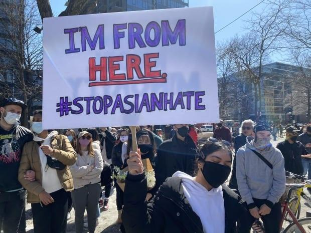 The PSA titled, Eyes Open, was produced for Asian Heritage Month by an all-Asian, mostly female, creative team based in Toronto.  Above, Montrealers at an anti-Asian racism demonstration in March.
