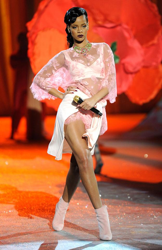"Rihanna slipped into a lacy pink number for her performance of ""Fresh Off the Runway"" during the 2012 Victoria's Secret Fashion Show at the Lexington Avenue Armory on November 7, 2012 in New York City."