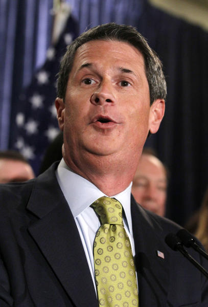 FILE - In this Nov. 2, 2010 file photo, Sen. David Vitter, R-La., speaks during an election night party in Kenner, La., after defeating Rep. Charlie Melancon, D-La., for a second term in office. Vitter will be a candidate in Louisiana's 2015 governor's race, announcing his decision Tuesday, Jan. 21, 2014 in an email to supporters. (AP Photo/Patrick Semansky, file)