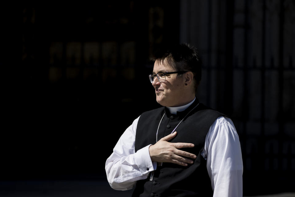 Bishop Megan Rohrer speaks to the press before the installation ceremony at Grace Cathedral in San Francisco, Saturday, Sept. 11, 2021. Rohrer is the first openly transgender person elected as bishop in the Evangelical Lutheran Church of America. (AP Photo/John Hefti)